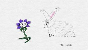 Eager Bunny meets Flower, and Flower is anxious about Bunny's intentions.