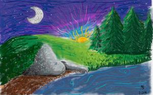 Landscape Doodle of a sunset over a grassy field
