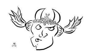 A monster with pigtails is perplexed to find a small bunny nestled in the curls between his horns.