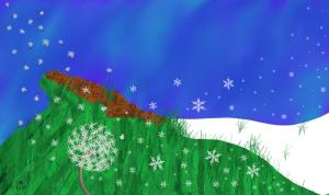 A landscape showing snow and blowing flakes giving way to grass and swirling dandelion seeds.