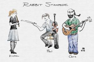 "A ""compilation"" portrait of the band, pulled from three different sketches, with the band members identified by name."