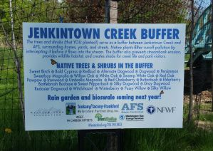 Signage explaining the new Jenkintown Creek buffer at Abington Friends School