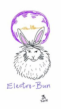 A bunny with one raised eyebrow sits while electricity flickers between his ears, surrounded by a purple electromagnetic sphere. The words Electro-Bun are written across the bottom.