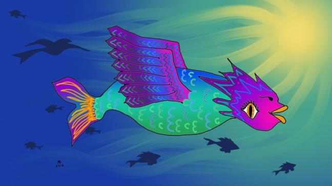 A multi-colored fish with wings against a background that's part water, part sky, surrounded by fish and one bird.
