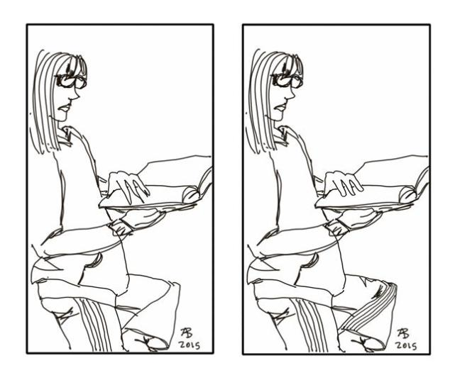 A side-by-side comparison of the original version of a sketch on the left, with the cleaned-up version on the right.