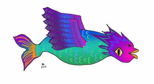 A multi-colored fish-like creature has wings instead of fins.