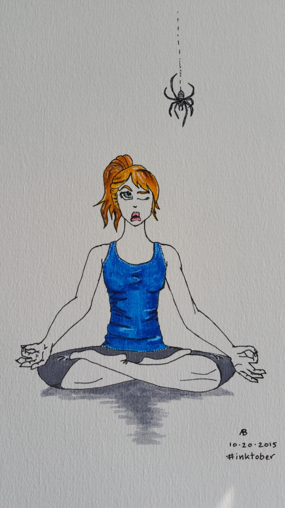 A woman in Lotus Position watches with one eye open as a spider dangles over her.