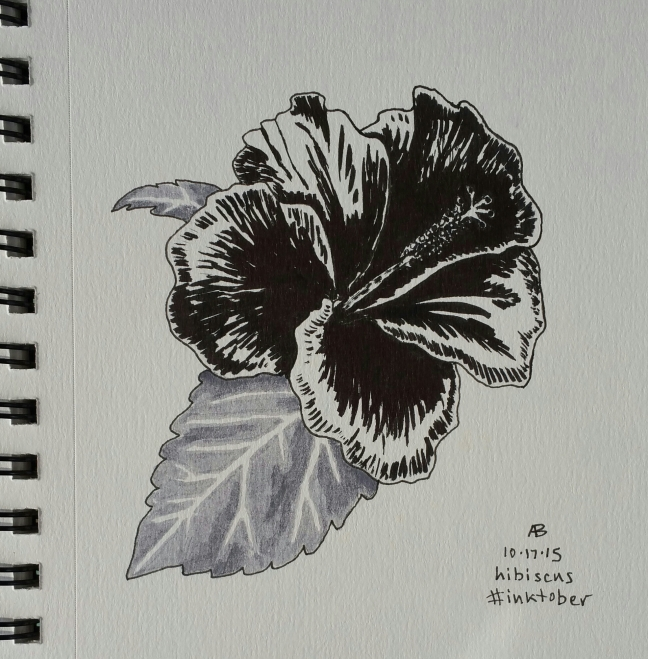 A black, grey and white sketch of a hibiscus blossom and leaf.