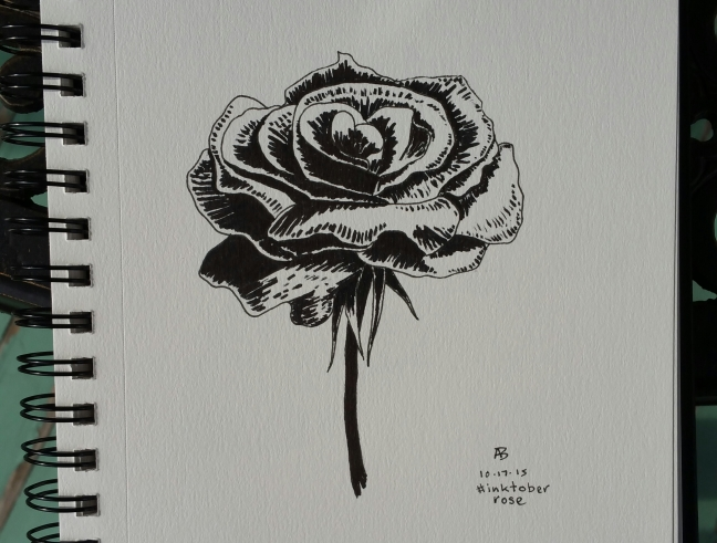 A black and white sketch of a rose.