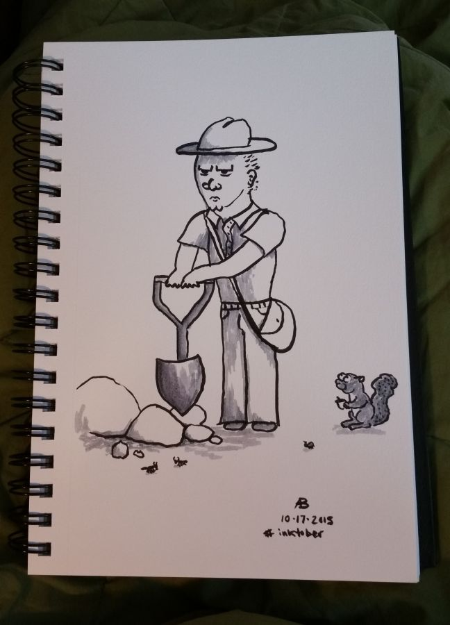 A sketch of a park ranger with a shovel, being watched by a squirrel.