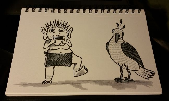 A sketch of a monster making a face while a perplexed bird watches.