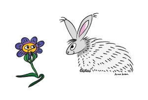 A picture of a smiling bunny, and a flower who is uncertain of the bunny's intentions.