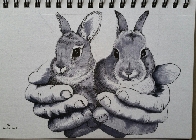 A pair of hands holds a pair of wild bunnies.