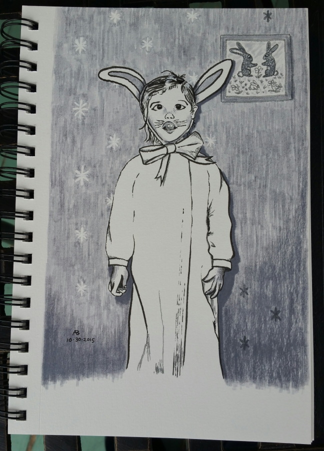 A black and grey drawing of a young girl dressed as a bunny for Halloween, with long ears positioned awkwardly on her head.