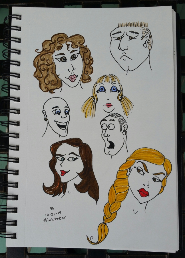 A page covered with a variety of faces wearing a variety of expressions.