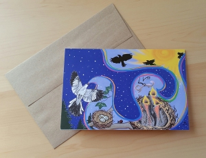 "A picture of a notecard featuring ""Mockingbird's Song""."
