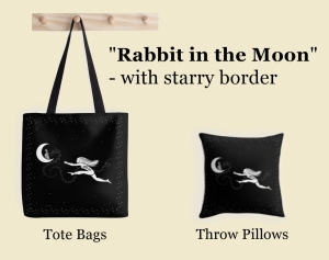 "A picture of a tote bag and a throw pillow with the ""Rabbit in the Moon"" design and an added starry border."