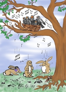 A group of bunnies are annoyed by a nest of singing birds.