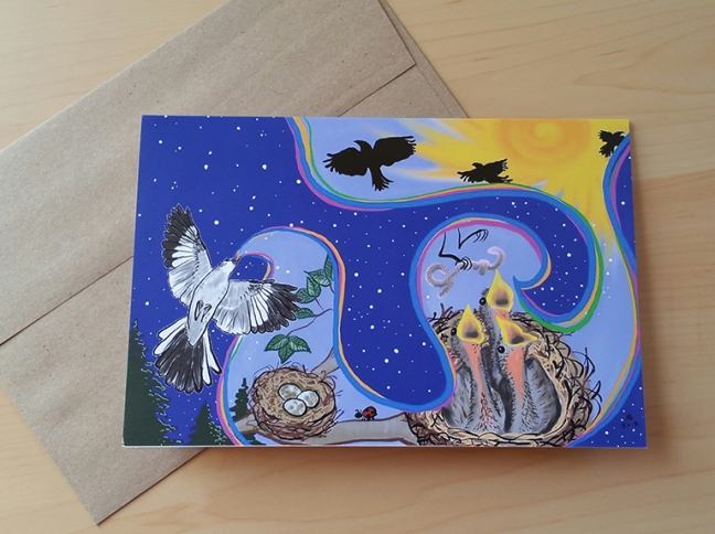 "A photo of a greeting card with the design ""Mockingbird's Song"" printed on it."