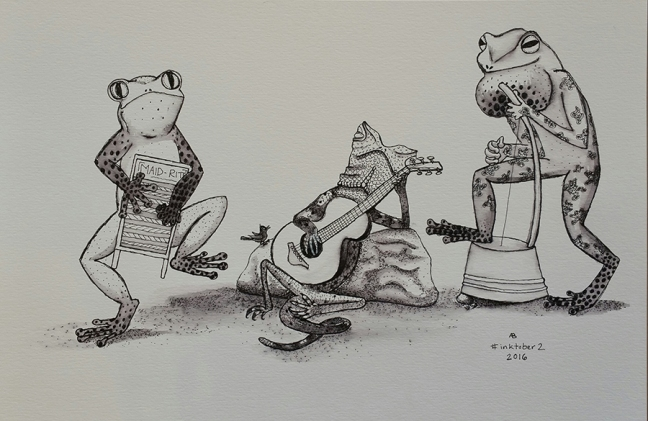 A frog plays the washboard on the left, and another frog plays washtub base on the right, while a lizard lounges playing guitar in the middle.