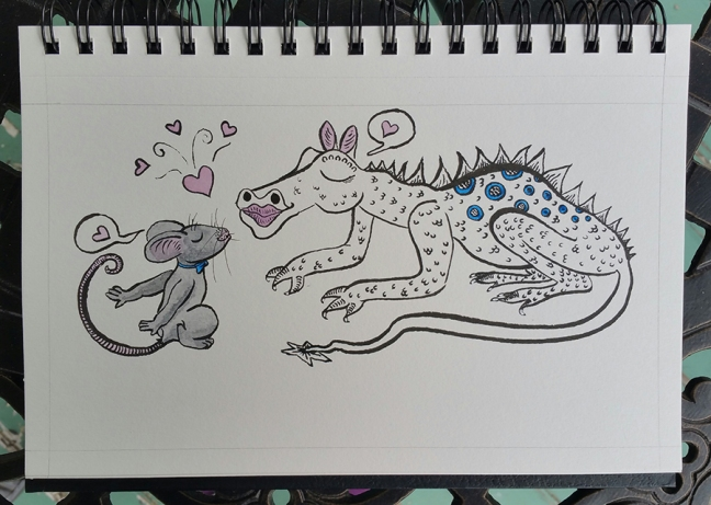 A grey mouse leans in towards a spotted dragon for a kiss. Both have their eyes closed in bliss, and both have speech bubbles containing pink hearts above them.