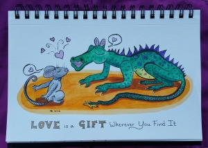 "A grey mouse and a green spotted dragon lean in to kiss each other, eyes closed. Each has a speech bubble containing a heart above them. The caption reads, ""Love is a Gift Wherever You Find It""."