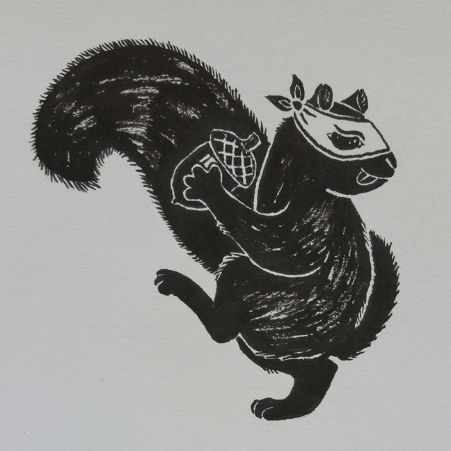 A black squirrel wearing a white ninja mask pulls back getting ready to pitch an acorn.