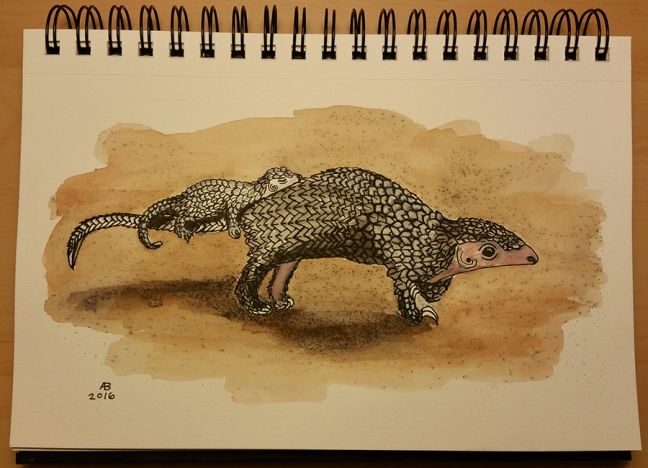 A pangolin stands with tail outstretched, while a baby pangolin sleeps balanced on the adult pangolin's lower back and tail.