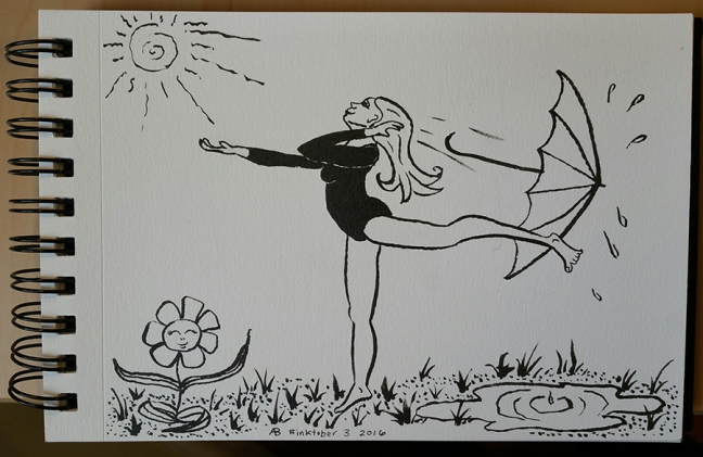 A dancing woman flings her umbrella away over her shoulder while reaching out towards a brightly shining sun. There is a puddle behind her, and a smiling flower with leaves outstretched in front of her.