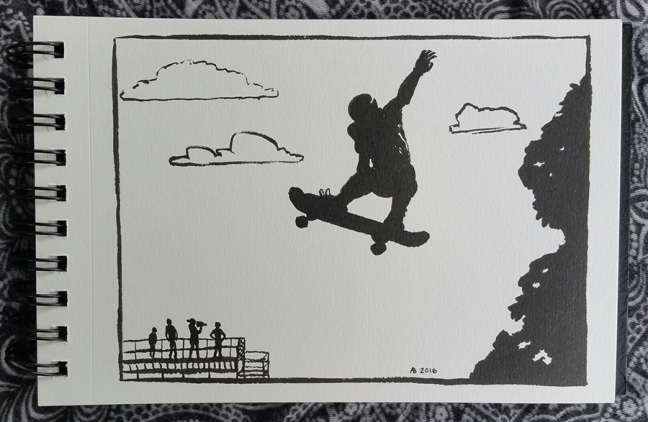 A drawing all in black silhouettes against white paper. In the foreground up in the air is a skateboarder gripping the board with one hand, his other arm flung back behind him. A tree is silhouetted on the right, and way in the background on the left are people on viewing stands watching. One of them holds a video camera.
