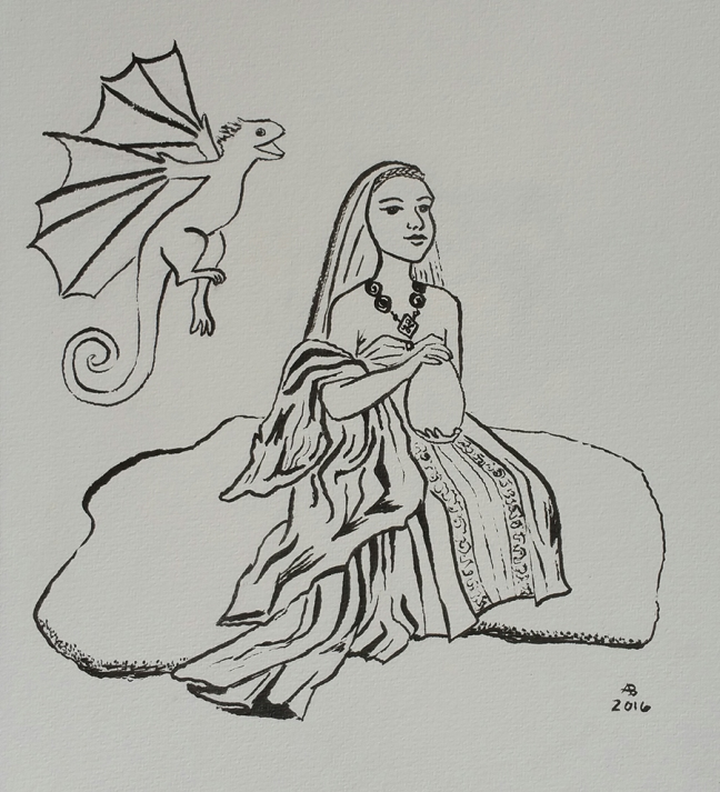 Daenerys Targaryen sits on a stone holding a dragon's egg in her hands, while a baby dragon hovers in the air near her shoulder.
