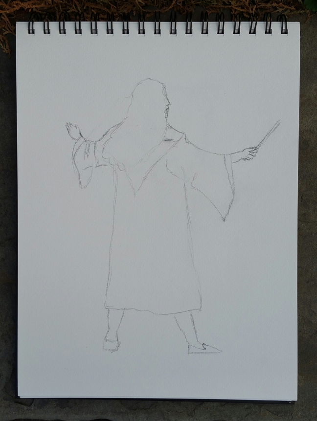 A loose sketch of Hermione Granger with hands extended, holding a magic wand.
