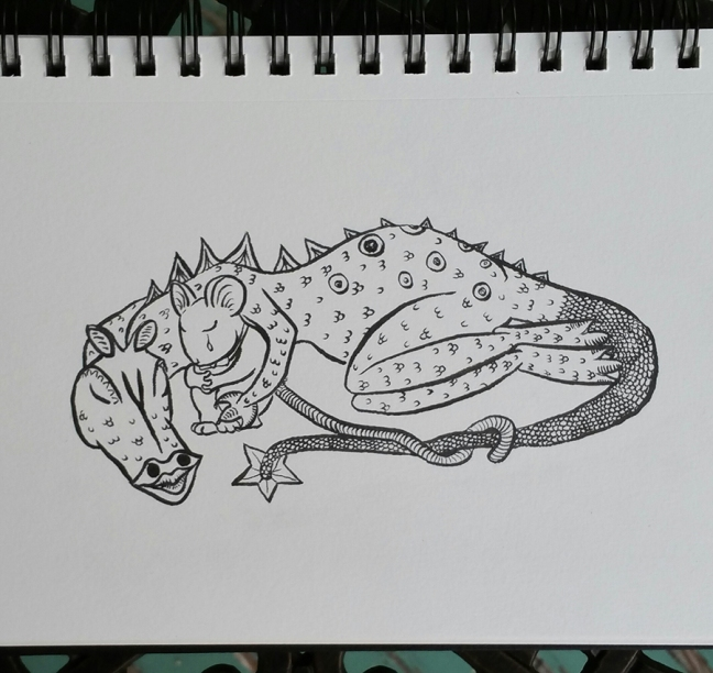 A dragon lies curled around a crying mouse. The mouse has his hands clasped around his knees, and the dragon has one arm wrapped around the mouse. In front of them their tails are intertwined, and they share the moment with eyes closed.