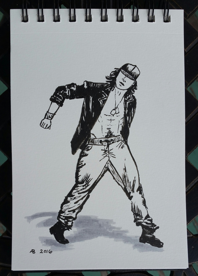 A black and white illustration of a shirtless man in a black jacket and hat dancing.