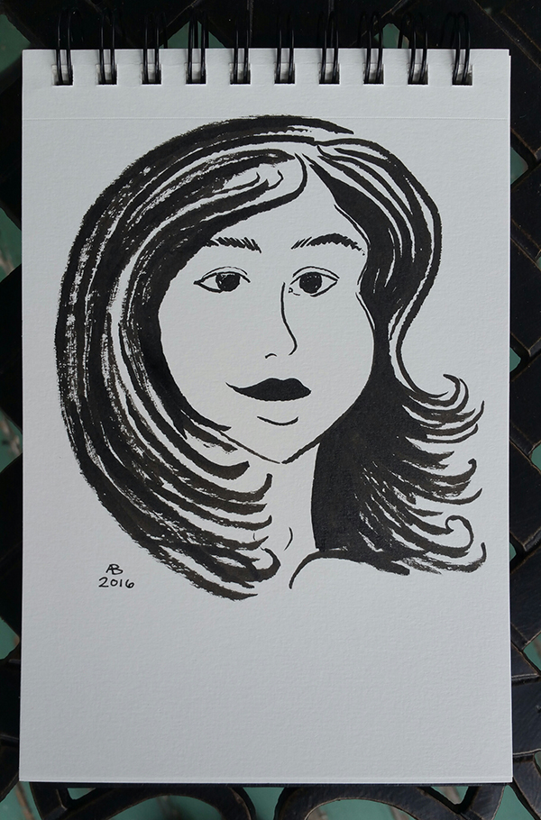 A black and white illustration from the collarbone up of a woman's face. She has dark shoulder-length hair and a serene expression.
