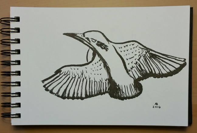 A black and white illustration of a common kingfisher in flight.
