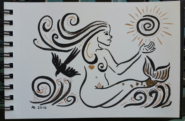 A mermaid in black and gold ink. A bird flies out of her swirling hair towards the swirling ocean as she reaches out to touch the swirling sun.