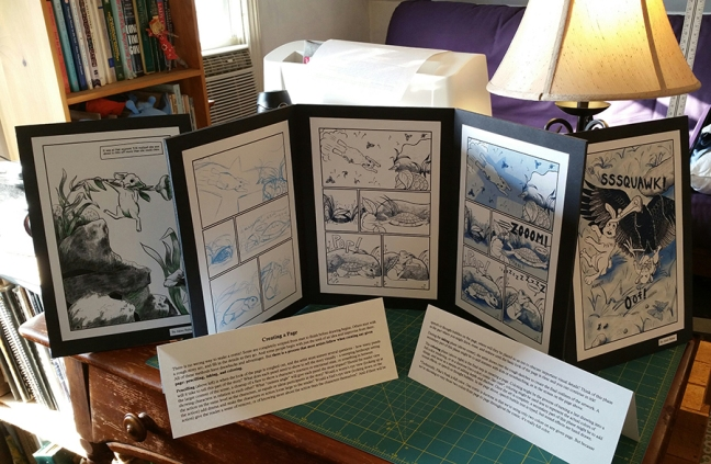 Examples of the Pika's Peak display at Abington Free Library lined up on my desk at home.