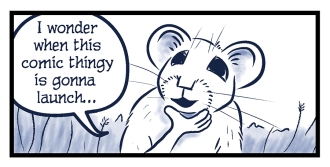 """A pika holds her head in her hand and says, """"I wonder when this comic thingy is gonna launch..."""""""