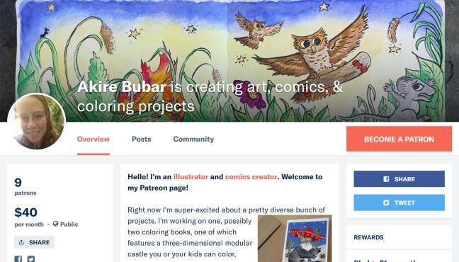 Screenshot of Akire Bubar's Patreon page, featuring a profile pic, a watercolor banner image of owls with skateboards, and a small bit of text from her artist intro.