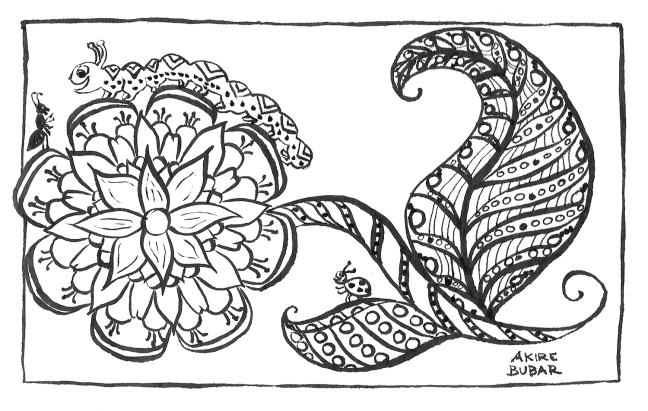 IMAGE DESCRIPTION: A traditional media line drawing done with a black brushpen on white mixed-media paper. An elaborate blossom fills most of the left side of the image, with a stem and two leaves to the right. On one of the leaves, a small ladybug watches an ant and a smiling caterpillar interact up on top of the blossom. There is a simple black border around the image, and it is signed by the artist Akire Bubar in the bottom right corner.