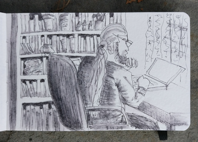 IMAGE #1 DESCRIPTION - featured image: A greyscale ink sketch of a man with a beard and long ponytail, viewed from the right side while working on a laptop at a desk. His chin rests on his left hand, and his right rests on the keyboard. On the far side of him is a large bookcase filled with books, jars, medicine bottles, a coffee mug, a jar of pens, pencils and scissors, etc. In front of the desk, on the right side of the drawing, is a window with lace curtains. The drawing is done in loose fast lines in black ink, with grey watery shading.